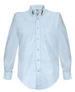 Long Sleeve button down collar, six button placket front, left chest pocket with reinforced pencil vent and name badge eyelets.