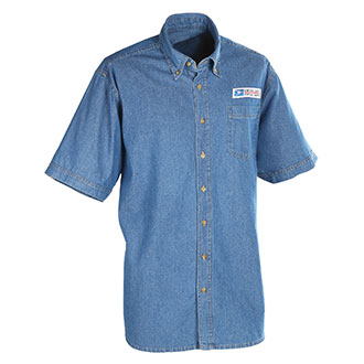 Men's Postal Uniform Shirt Denim Short Sleeve