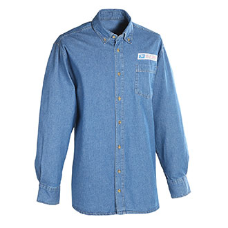 Men's Postal Uniform Shirt Denim Long Sleeve
